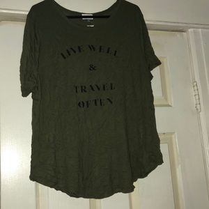 Old Navy Army Green Live Well & Travel Often Tee